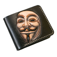 Hand made Short V for Vendetta Wallets Purses Women Men Clutch Vegetable Tanned Leather Thin Wallet Card Holder Birthday Gift