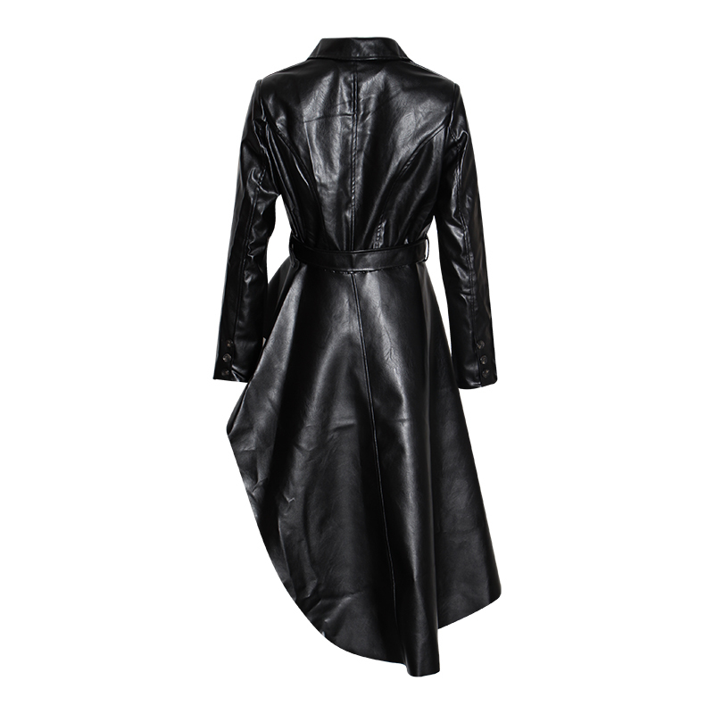 Image 5 - TWOTWINSTYLE PU Leather Women's Trench Lapel Collar Long Sleeve Sashes Irregular Hem Windbreaker Female 2019 Fashion Autumn-in Trench from Women's Clothing