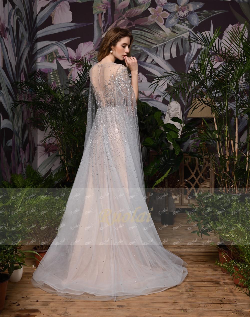 82385 schöne Glänzende Schwere Perlen mit Langarm Watteau Zug Sehen durch Illusion Formale Party Abendkleid Lange Kleider - 5