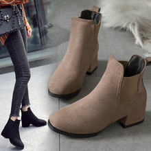 цены 2019 new Women Boots Autumn Winter Camel Black Ankle Boots Martin Boots Thick Heel Slip Suede casual Ladies Shoes 34-40