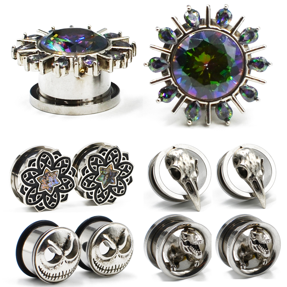 PAIR Black Tribal Flower Top Design Steel Screw Fit Tunnels Plugs Pierced Body Jewelry