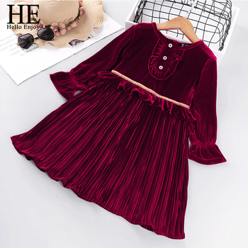 HE Hello Enjoy Autumn Winter 2020 Girls Dress Red New Year Dresses Long Sleeve Velvet Solid Sweet Baby Vestido Clothes