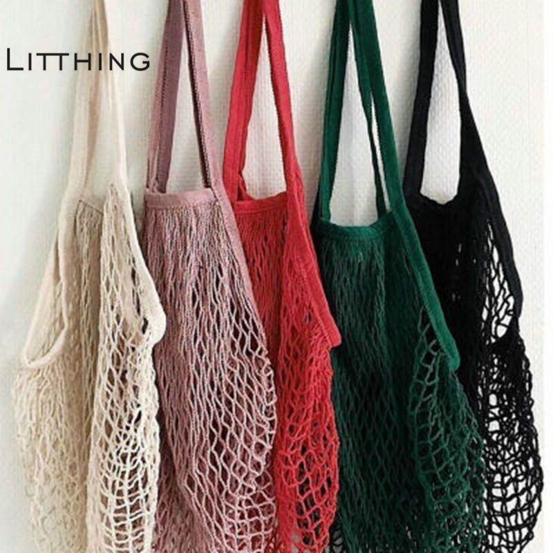 Litthing Brand 2020 New 1PC Reusable String Shopping Grocery Bag Shopper Tote Mesh Net Woven Cotton Bag Hand Totes Dropshipping