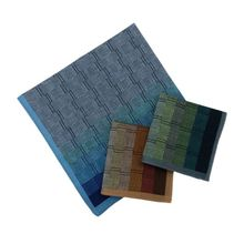 3Pcs/Set Mens Cotton Handkerchief Gradient Color Wall Brick Plaid Patterns Pocket Square Hankies for Wedding Party Gift Random