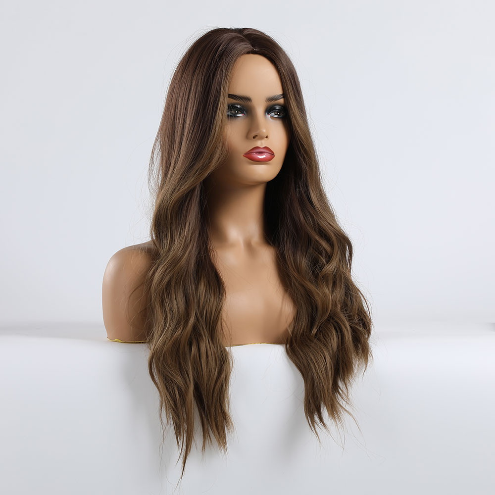 EASIHAIR Long Brown Ombre Synthetic Wigs for Women Natural Hair Wavy Wigs Ash Brown Blonde Heat