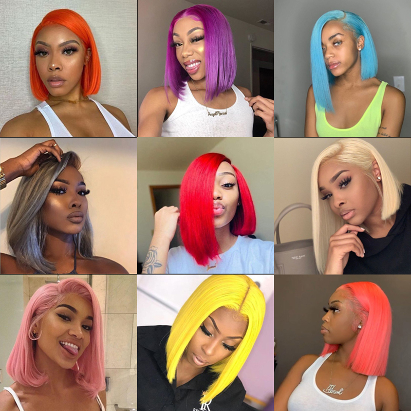 Silver Gray Bob Lace Front Wig 13*4 Pre Plucked Colored Blue Orange Red Green Virgin Brazilian Human Hair Wigs For Black Women