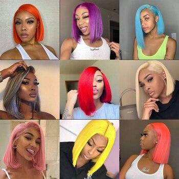 Silver Gray Bob Lace Front Wig 13*4 Pre Plucked Colored Blue Orange Red Green Virgin Brazilian Human Hair Wigs for Black Women primare pre 32 silver