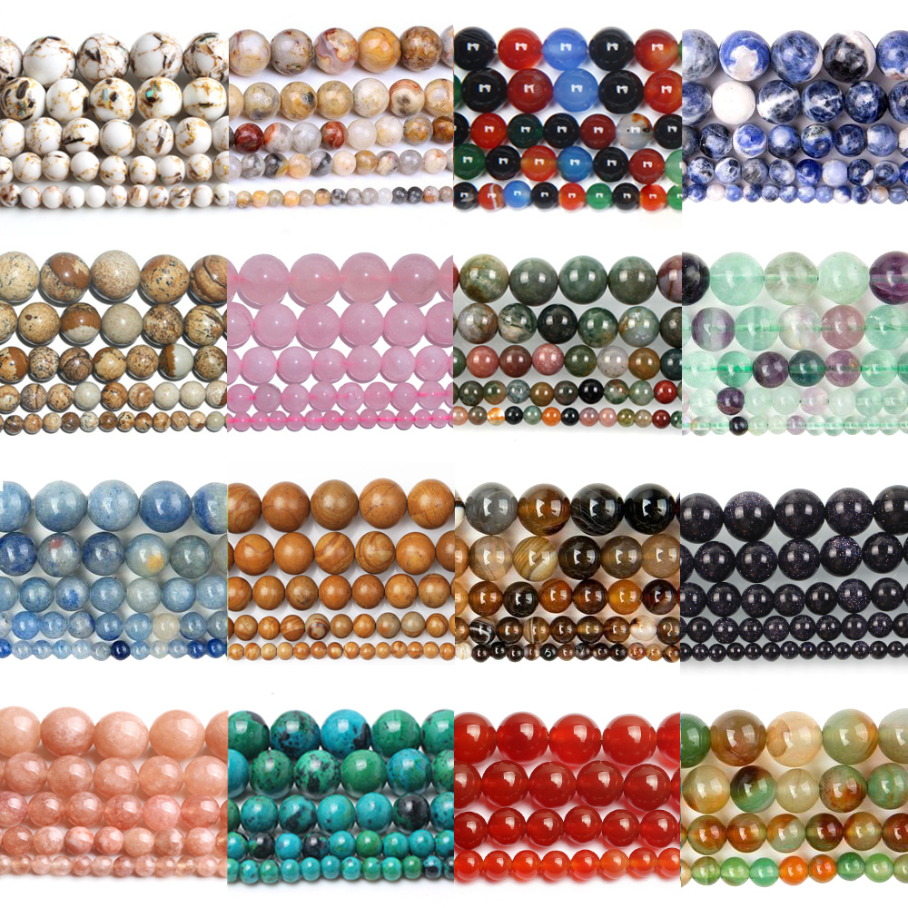Wholesale Natural Stone Beads Round Full Strand Healing Agates Beads For Jewelry Making DIY Bracelet Necklace 4-12mm