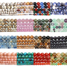Wholesale Natural Stone Beads Round Full Strand Healing Agates Beads for Jewelry Making DIY Bracelet Necklace 4-12mm(China)
