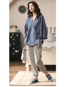 Image 2 - Conjunto de pijama de algodón de estilo Retro Japón para niña y mujer, ropa para el hogar, Kimono informal, ropa para el hogar