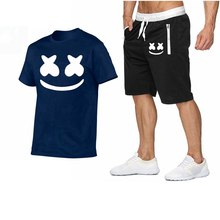 2019 New T-Shirt Sets Casual Tshirt Men Summer Hot Sale Tracksuits Hip Hop Brand Clothing T Shirt Set Men 2 Pieces M-2XL(China)