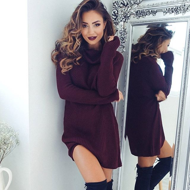 Fashion Winter Autumn  Womens Casual Long Sleeve Jumper Turtleneck Sweaters Dress