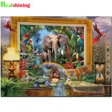 5d Diamond Painting Full Square round drill Animal Diamond Embroidery jungle coming Elephant Decorations For Home N1954