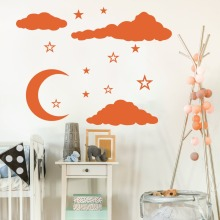 Cartoon Moon Clouds Star Wall Decal Baby Nursery Kids Room Stars Sky Nature Sticker Bedroom Living Vinyl