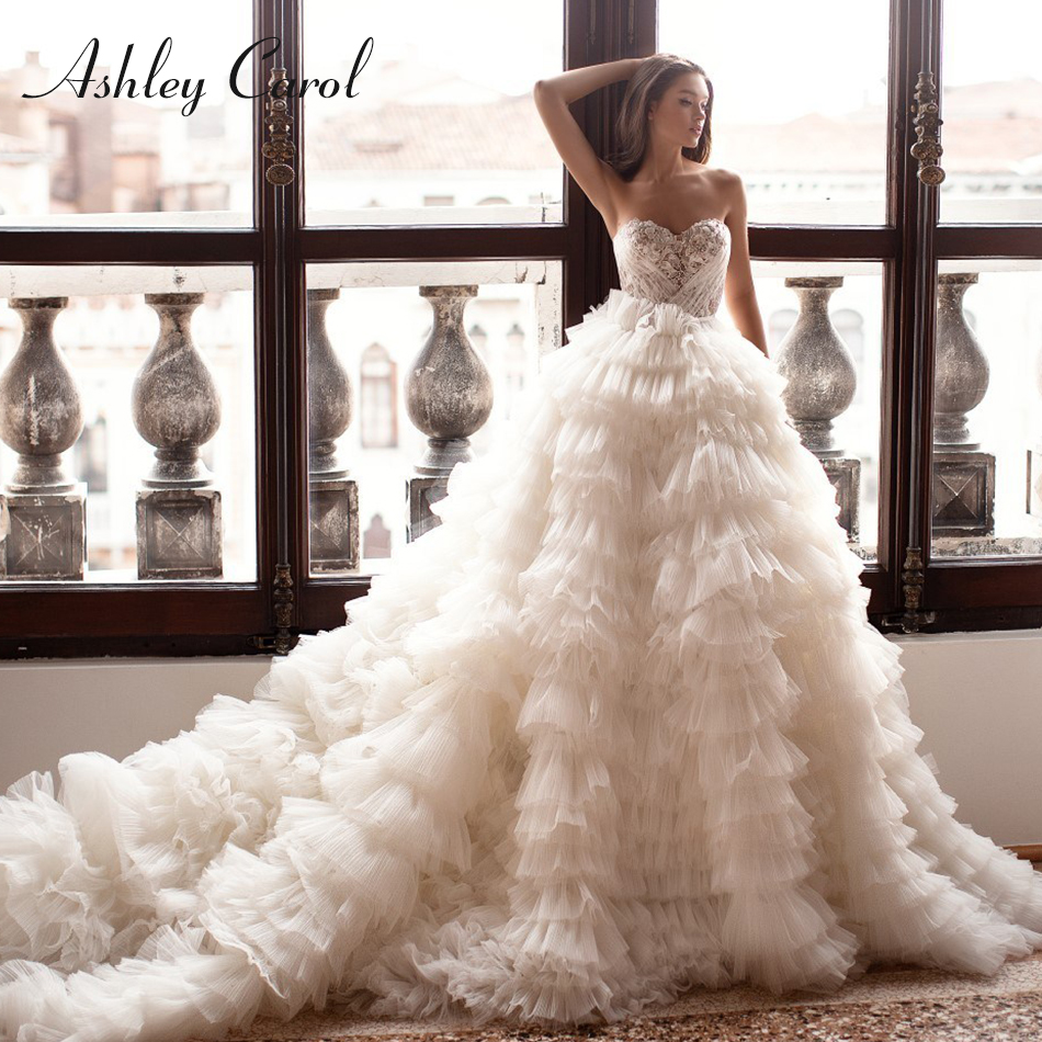 Ashley Carol Sexy Sweetheart Ruffles Tulle Wedding Dress 2019 With Sleeves Luxury Chapel Train Wedding Gowns Vestido De Noiva
