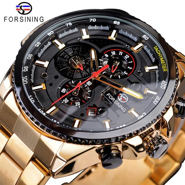 Forsining 2019 Classic Black Golden Klok Mannelijke Steampunk Sport Serie Compleet Kalender Mannen Automatische Horloges Top Merk Luxe