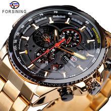 Forsining 2019 สีดำคลาสสิก Golden นาฬิกาชาย Steampunk Sport Series ปฏิทินอัตโนมัตินาฬิกายี่ห้อ Luxury