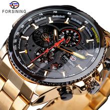 Forsining 2019 clássico preto relógio de ouro masculino steampunk sport série calendário completo masculino relógios automáticos marca superior luxoRelógios mecânicos