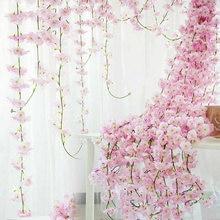 2M Silk Sakura Kirschblüte Reben Lvy Layout Home Party Rattan Wandbehang Garland Kranz Slingers Hochzeit Arch Dekoration