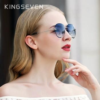 KINGSEVEN DESIGN Women Rimless Pilot Sunglasses Blue Gradient Lens UV400 Protection