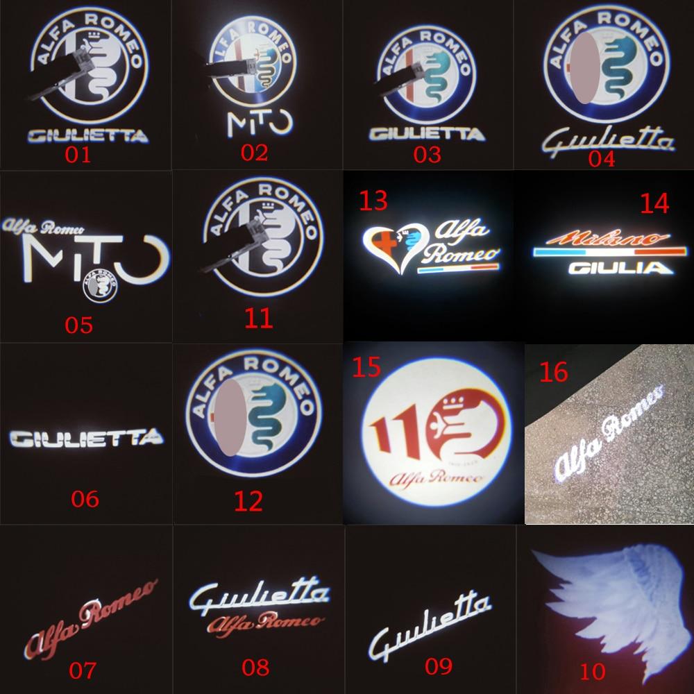 2pcs for Alfa Romeo 159 LED Car Door Welcome Light Logo Projector for Alfa Romeo 147 156 Giulietta Giulia Mito Stelvio Brera