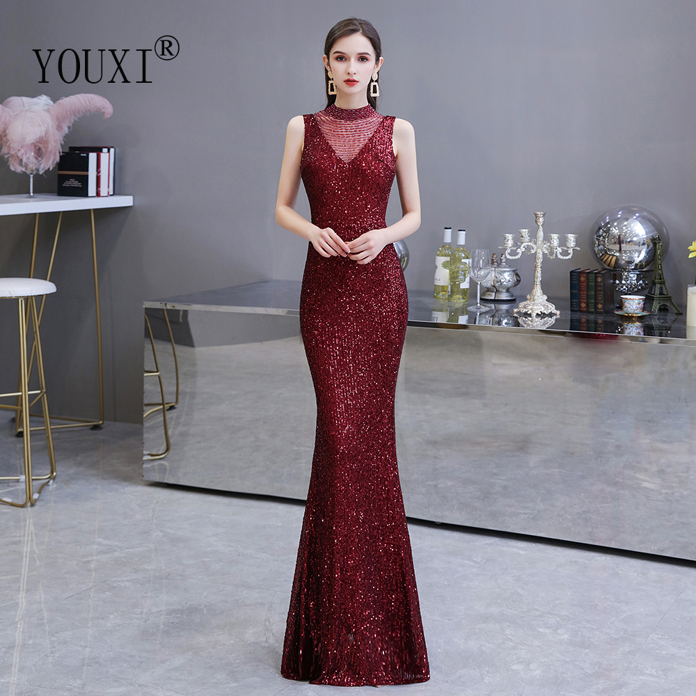Dark Red Evening Dresses Long Sexy Hollow Back Sequin Beading O-Neck Mermaid Formal Gown Burgundy Robe De Soiree Longue