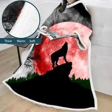 Одеяло с рукавами 3D Печатный волк микрофибра шерпа флисовый диван одеяло наружное Коралловое ТВ мягкое теплое одеяло Манта дропшиппинг