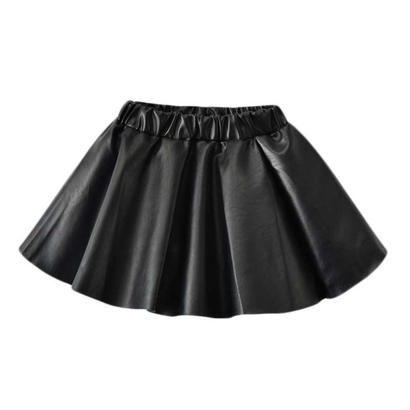 女の子新ファッション PU フェイクレザー弾性ウエスト女の赤ちゃんチュチュスカート秋黒子供ショートスカート固体子供服