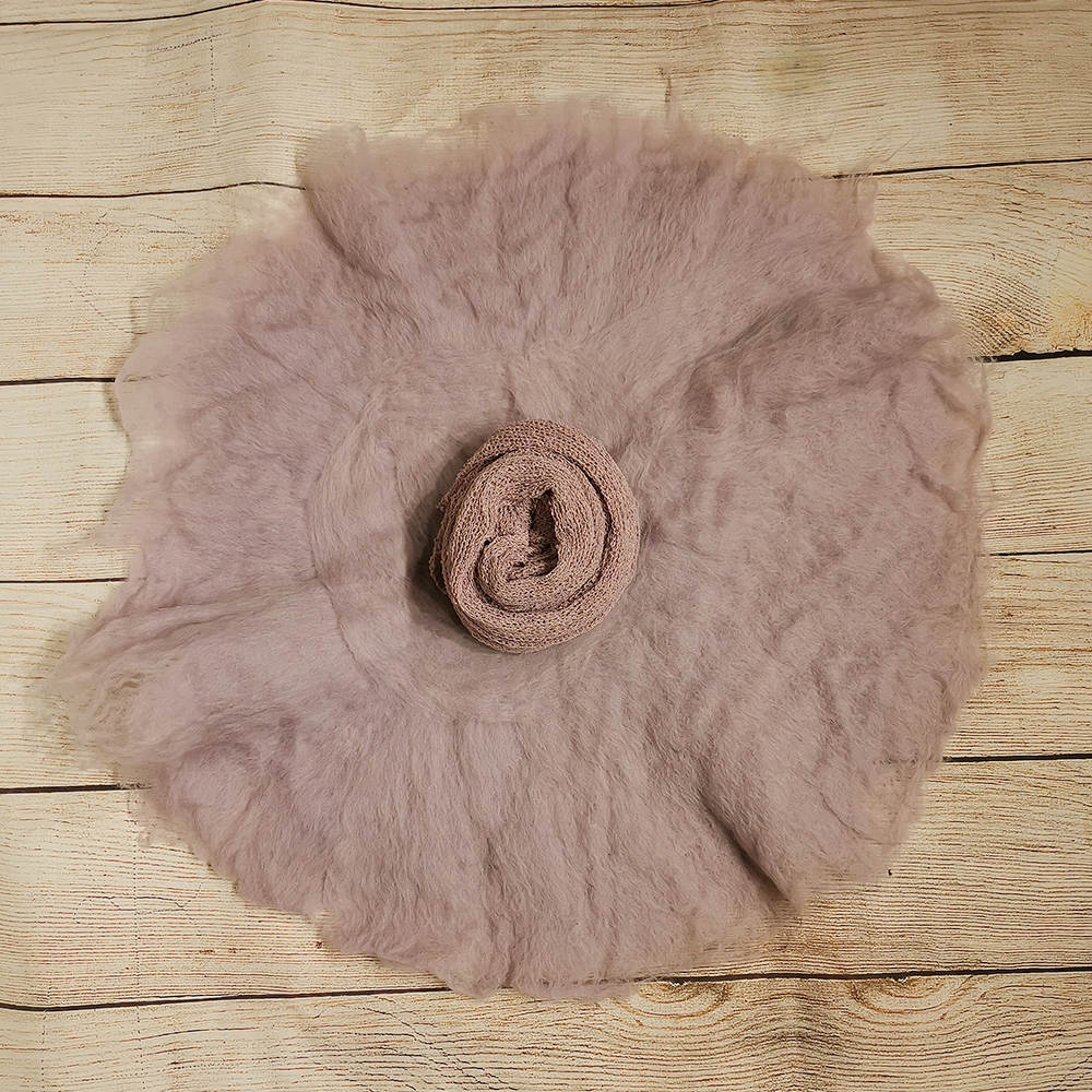 A Set 100% Wool Felt Fleece Blanket+Stretch Knit Wrap+Baby Girl Hats With Lace Headbands For Newborn Photography Props