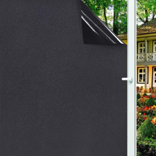 Removable 100% Light Blocking Static Total Blackout Window Film Privacy Room Darkening Window Tint Black Window Sticker 1