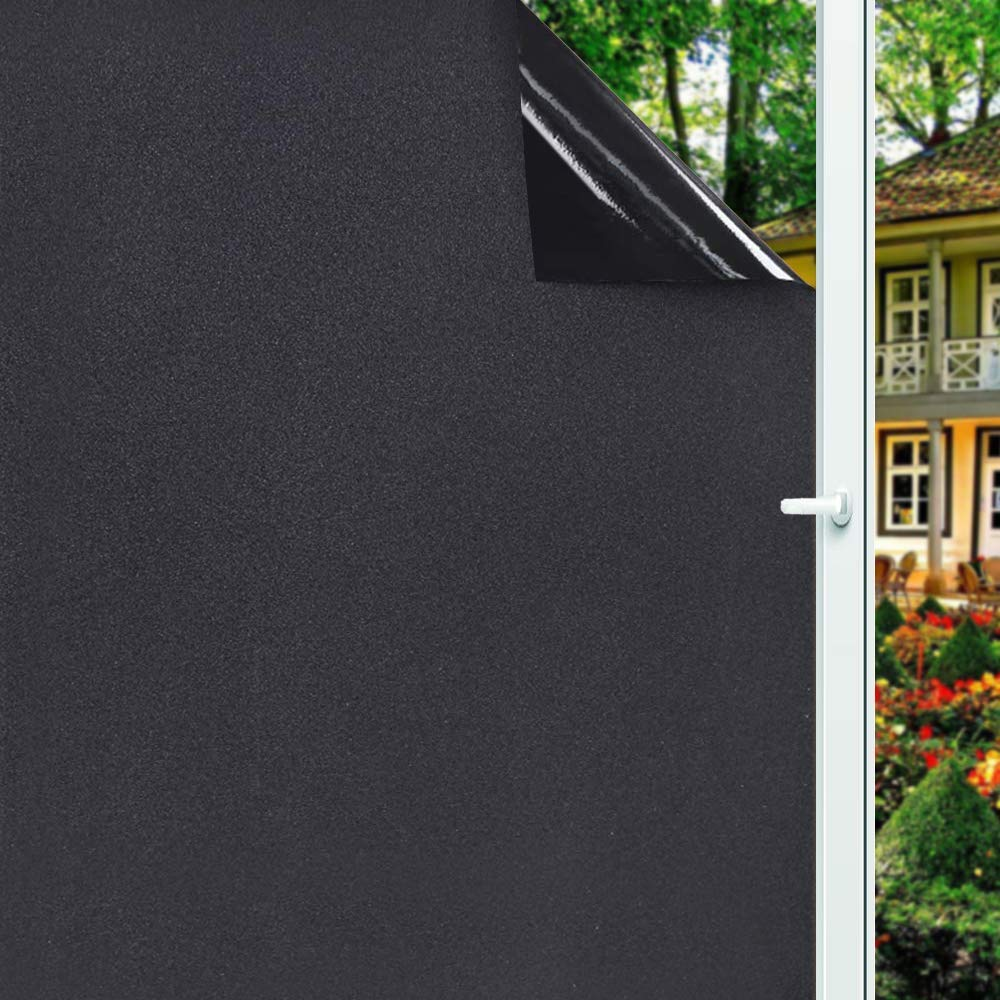 Luckyyj removível 100% luz bloqueando estática total blackout janela filme privacidade quarto escurecimento janela matiz preto janela adesivo