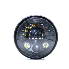 Universal Retro Black  7 Inch Motorcycle Round LED Headlight Housing Hi/Low Beam Motorbike Moto Front Lamp with Head