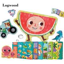 Wooden Baby Big Puzzles Advanced Toys Cartoon Animal Characters Cognitive Children Early Learning  Intelligence Development Toys baby early learning wooden children walker