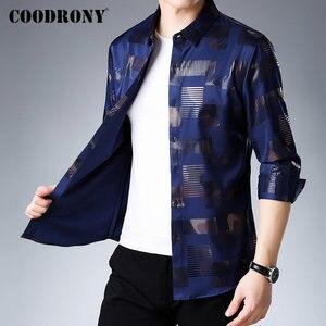 Image 2 - COODRONY marka koszula męska bawełniana koszula z długim rękawem mężczyźni jesień sukienka męskie koszule na co dzień Streetwear moda Camisa Masculina 96068