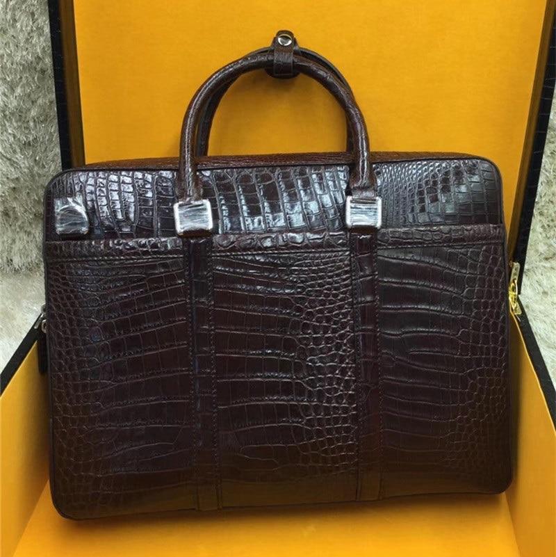 Authentic Crocodile Belly Skin Laptop Briefcase Businessmen Work Purse Handbag Genuine Alligator Leather Male Large Shoulder Bag