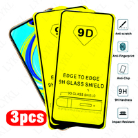 Protetor de tela de vidro 9d com cola total, 3 pçs, para xiaomi, redmi note 8, 9 pro, max, 8t, 8a, 10 t, 7a