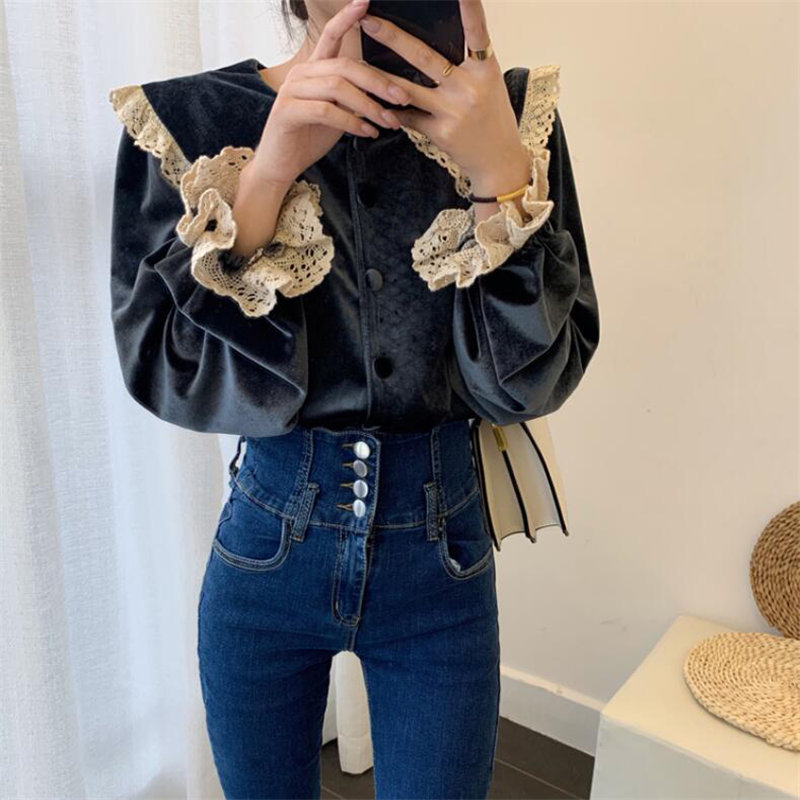 Alien Kitty Gentle Vintage Lace Velvet Tops Thicken 2020 Plus Peter Pan Collar Sweet Chic Retro Casual All-Match Stylish Blouses