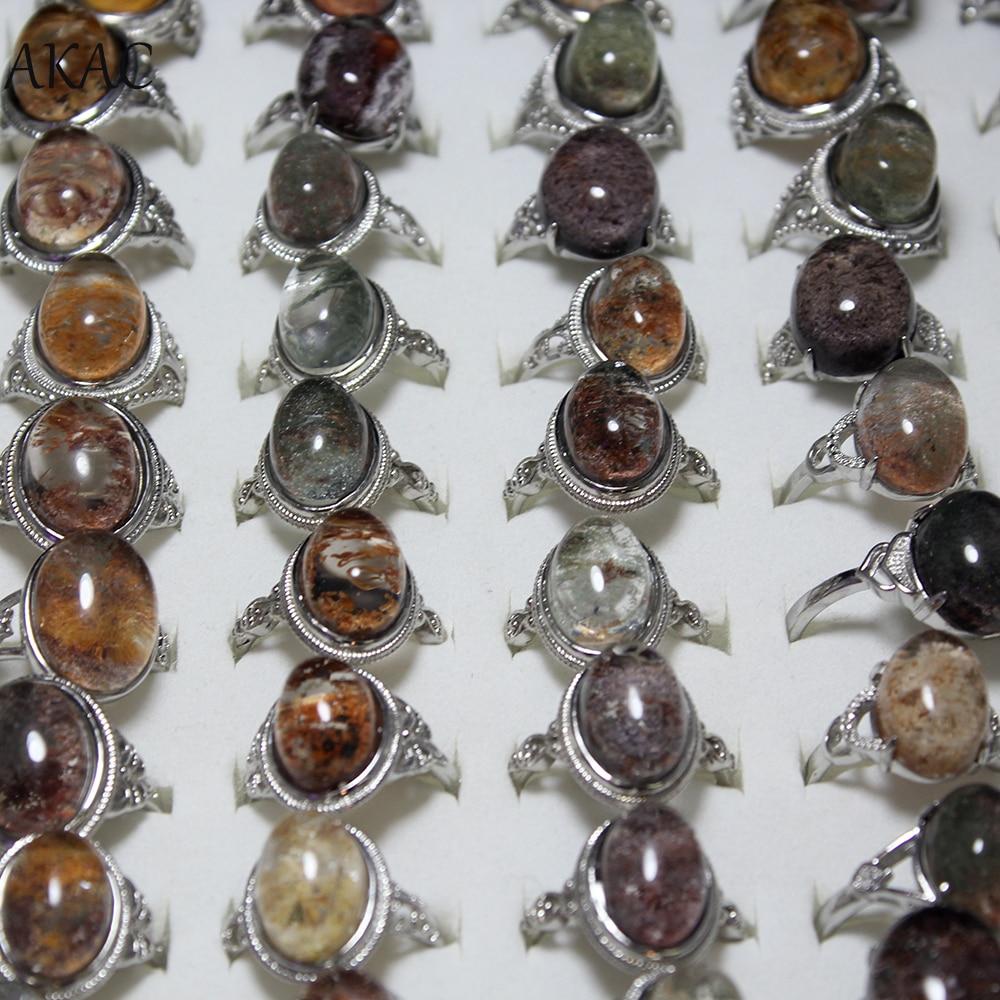 2rings/set AKAC Big Size Approx9-14*13-19mm Natural Phantom White Copper Adjustable Ring For Women Men Send Randomly Wholesale