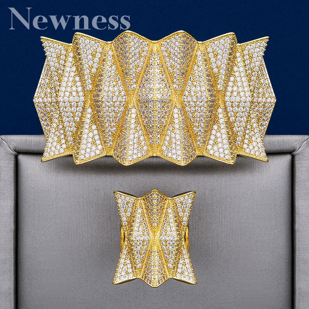 Newness Luxury Hedgehog Three Tones Big Size Cuff Bracelet Bangle Finger Rings Jewelry Set Full Cubic Zircon Copper High Quality