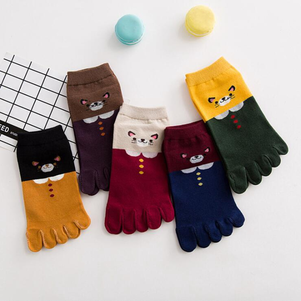 1 Pair Autumn And Winter New Five-Finger Socks Women Cotton Cute Toe Socks Five Finger Toe Socks Casual Cotton Solid Sock