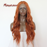 Maycaur Orange Water Wavy With Natural HairlineSynthetic Lace Front Wigs Heat Resistant Fiber Hair Free Part For Black Women