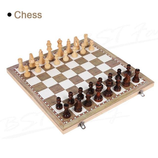 Jeu d'échec et de dames 3 en 1, Backgammon en bois, pour enfants et adultes 2