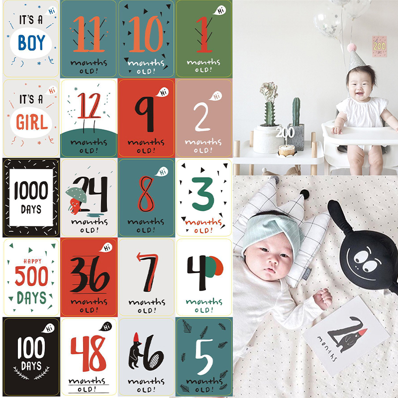 20pcs Month Sticker Baby Photography Milestone Memorial Monthly Newborn Kids Commemorative Card Number Photo Props Accessories