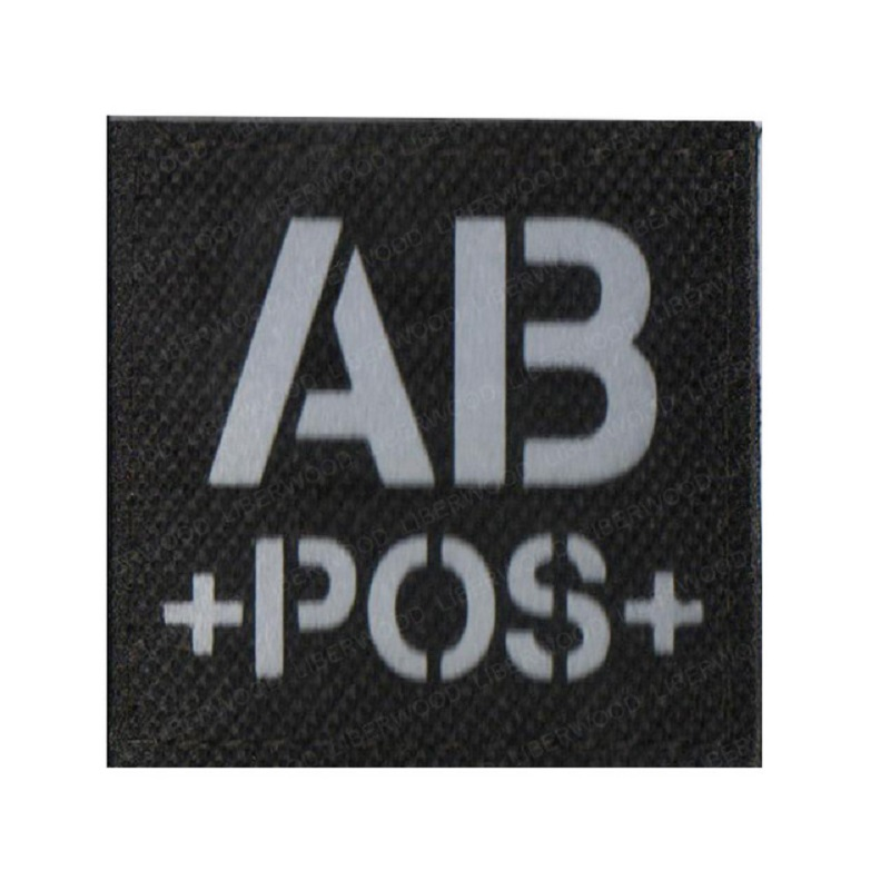 blood type A+ B+ O+ AB+ POS Positive IR patch for backpacks morale tactical patches Reflective luminous  badge with hook loop (2)
