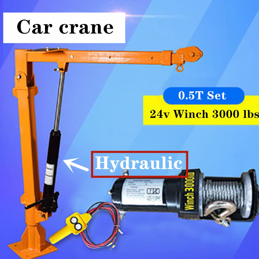 Truck Crane 0.5 Ton 24v Small Truck Crane 220V Household Electric Hoist Crane Winch 3000 Lbs +Truck Crane