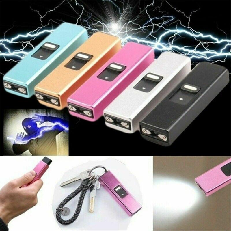 Multi-functional Outdoor Defense Flashlight Stick Lamp Keychain Pendant Female Self-defense Telescopic Key Chain Mini Stun Gun