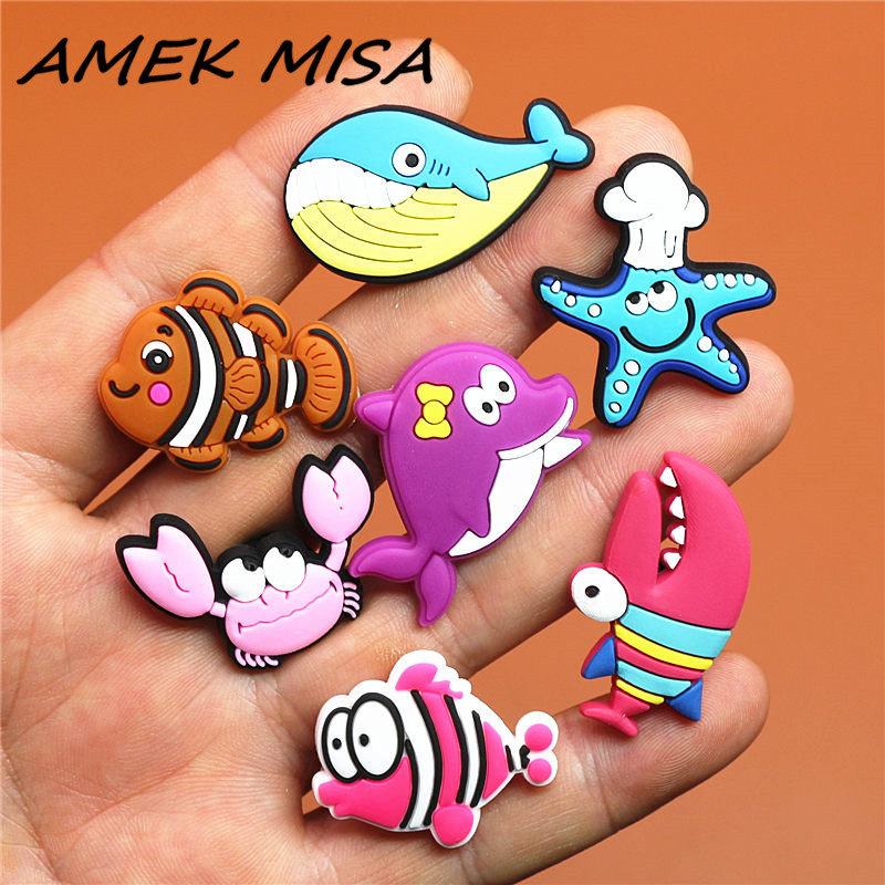 1pcs Lovely Animals PVC Shoe Charms Accessories Starfish Croc Shoe Buckle Decoration Shoe Ormaments Fit JIBZ Party Kid's Gifts