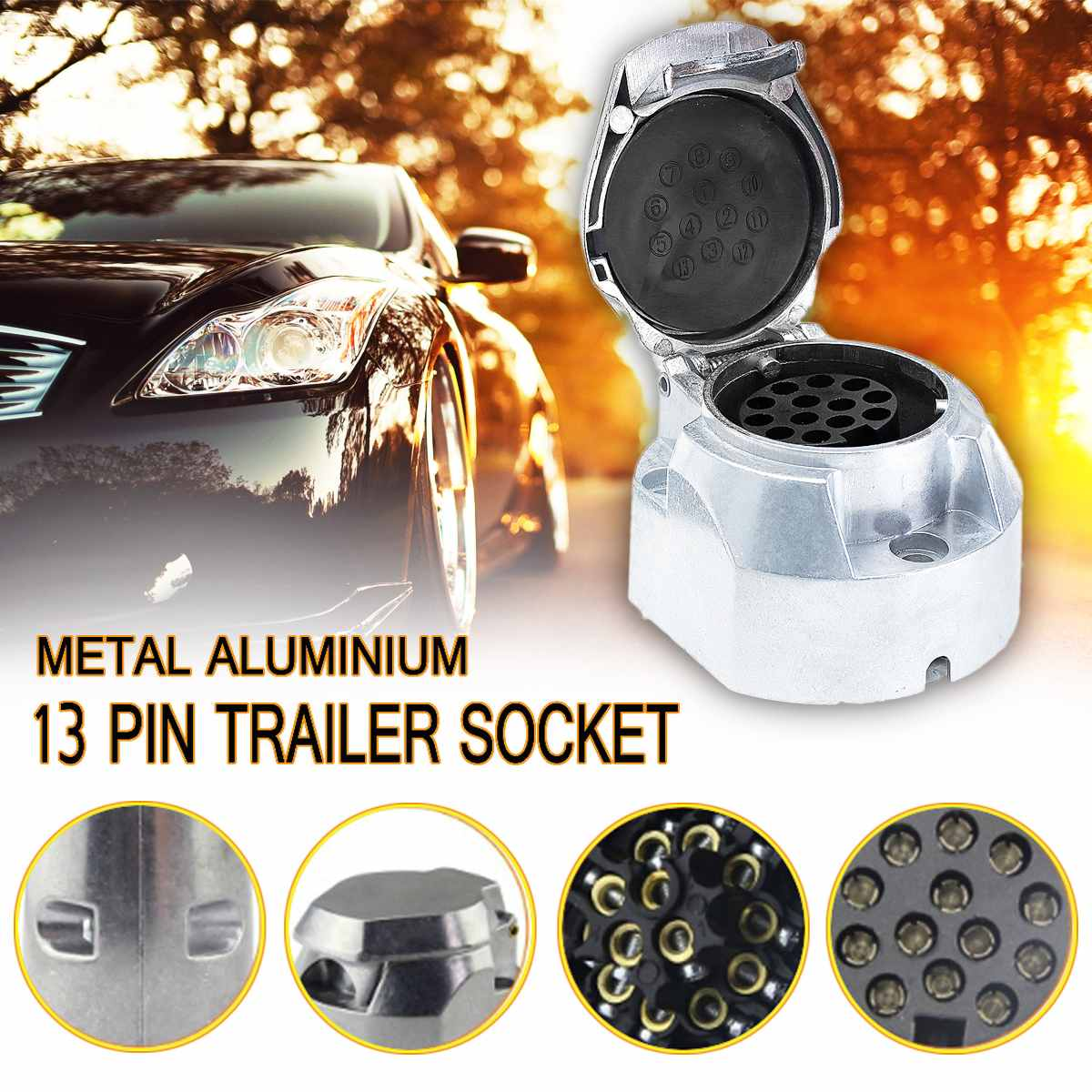 13 Pin European Standard Trailer Socket Aluminum Trailer Socket 12V Towbar Towing Socket For Car Trailer Ship RV