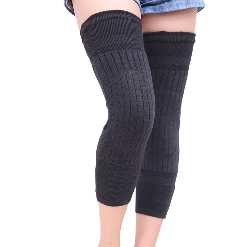 1 Pair Cashmere Warm Kneepad Knee Support Men And Women Cycling Lengthen Prevent Arthritis Knee Pad Dark Gray