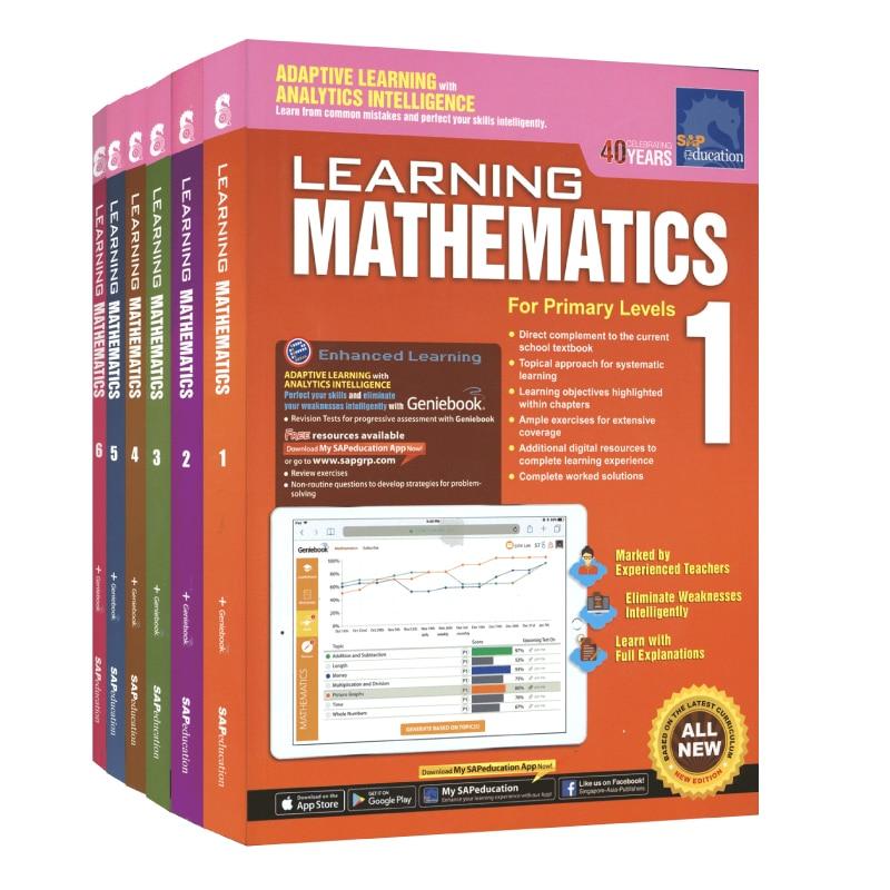 6 Pçs/set SEIVA Livro de Aprendizagem da Matemática Grau 1-As Crianças Aprendem Matemática Livros 6 Cingapura Matemática Da Escola Primária Textbook